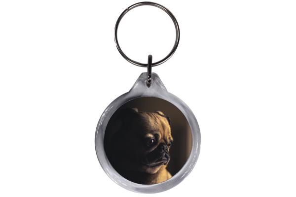 ResKey Schlüsselanhänger rund Hund Mops beidseitig bedruckt