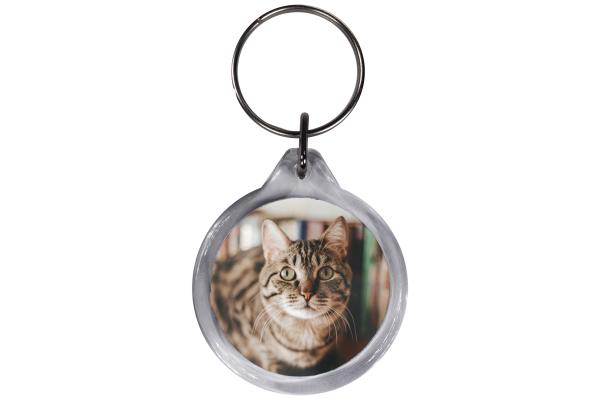 ResKey Schlüsselanhänger rund Katze hell Grau beidseitig bedruckt