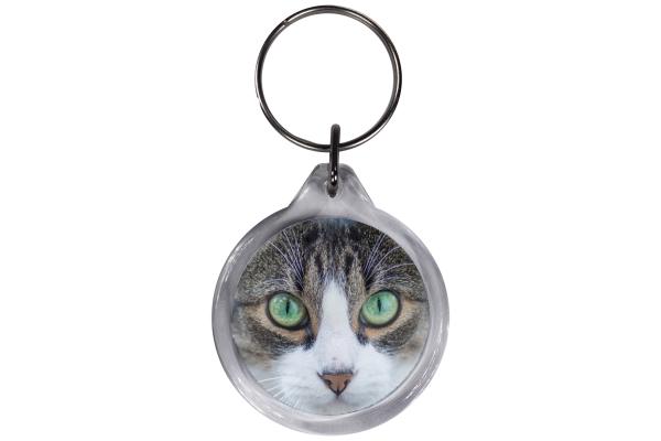 ResKey Schlüsselanhänger rund Katze Augen grün beidseitig bedruckt