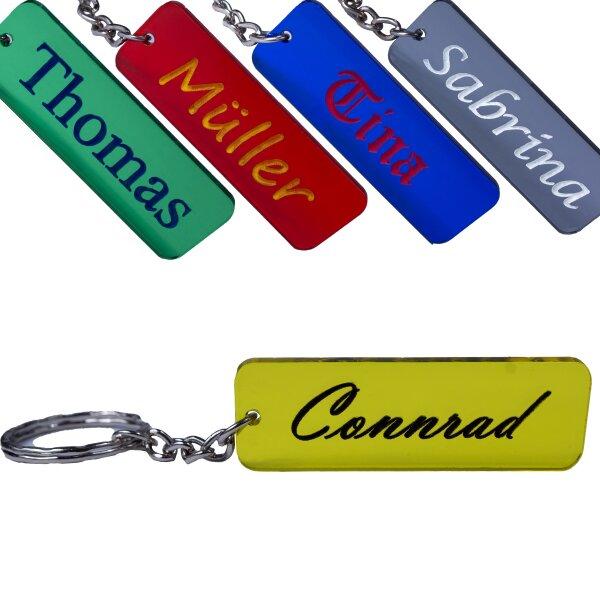 Schlüsselanhänger mit Name Wunschname personalisiert individuell farbig Gravur