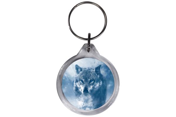 ResKey Schlüsselanhänger rund Wolf beidseitig bedruckt