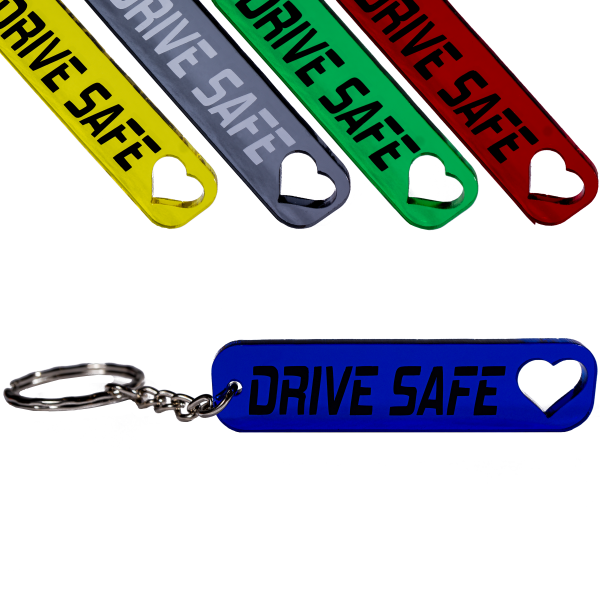 Drive safe Schlüsselanhänger mit Herz Schutzengel Auto farbig