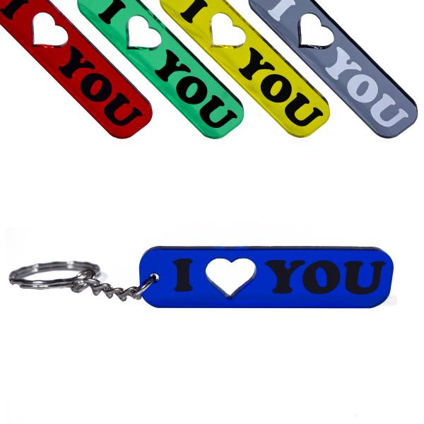 I love you Schlüsselanhänger mit Herz Geschenk farbig