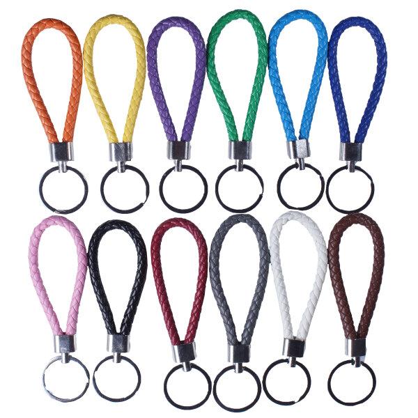 Leder Schlüsselanhänger als geflochtenes Seil farbig