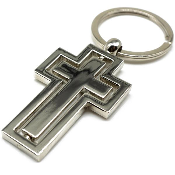 Kreuz Schlüsselanhänger silber aus Metall Taschenanhänger christliches Kreuz