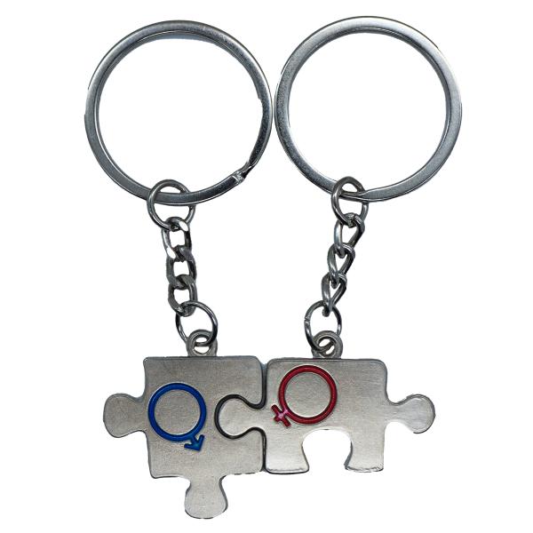 Partner Schlüsselanhänger aus metall Puzzle Teil Pärchen