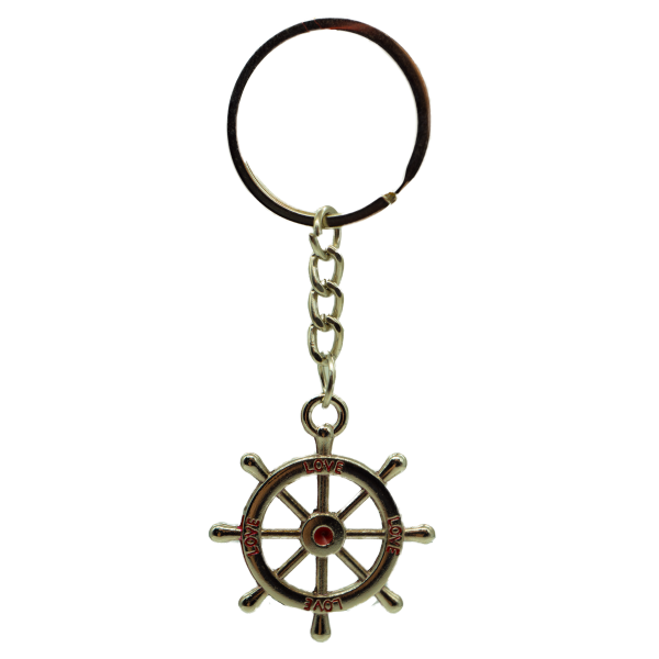Steuerrad Love Schlüsselanhänger aus Metall mit roten Akzenten