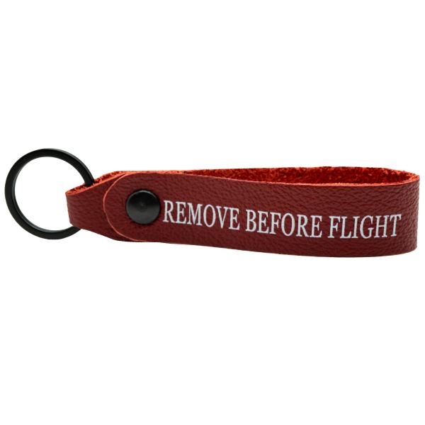 REMOVE BEFORE FLIGHT Leder Schlüsselanhänger Rot Flugzeug