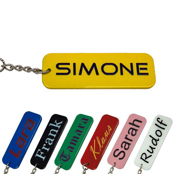 Metall farbig Schlüsselanhänger mit Name Wunschname personalisiert individuell Gravur
