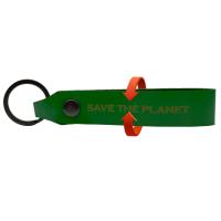 GO GREEN - safe the planet Schlüsselanhänger aus LKW Planenstoff upcicling