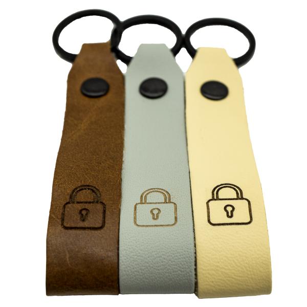 Schloss Leder Schlüsselanhänger graviert farbig Vorhängeschloss