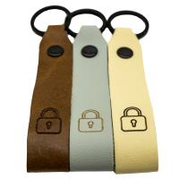 Schloss Leder Schlüsselanhänger graviert farbig...