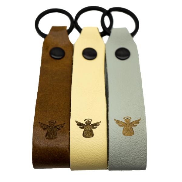 Schutzengel Leder Schlüsselanhänger Engel graviert farbig