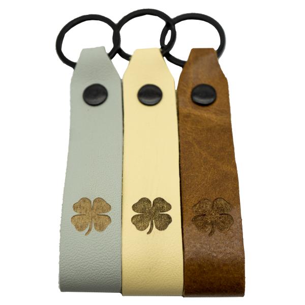 Kleeblattl Leder Schlüsselanhänger Glück Glücksbringer graviert farbig